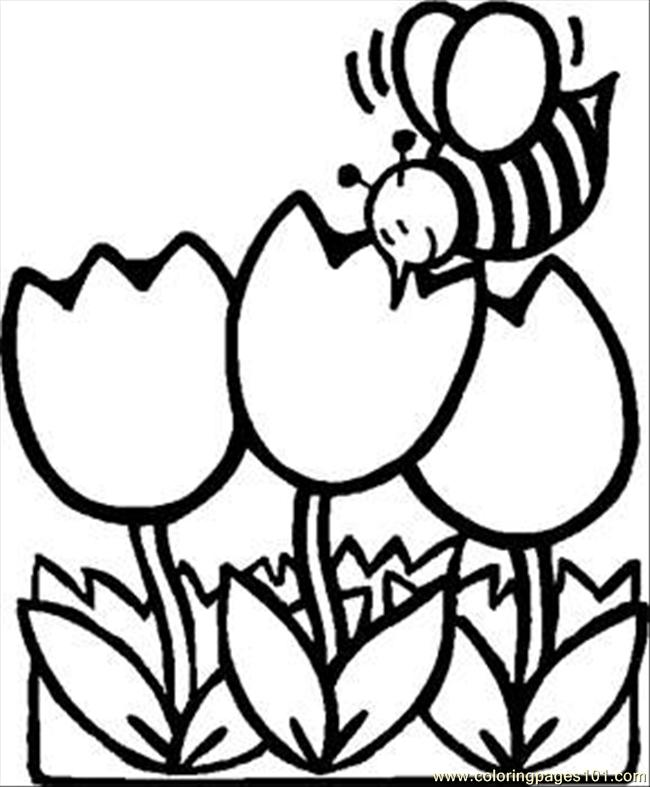 Busy Bee Tulips Rdax 65 Coloring Page