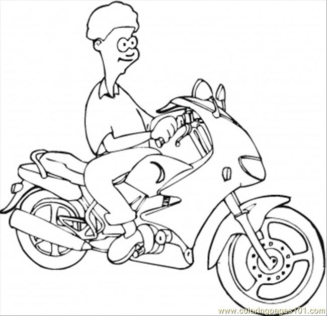 Boy On The Motorbike Coloring Page