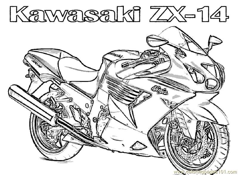Bike Coloring Pages Interesting Motorcycle Kawasaki Coloring Page  Free Bikes Coloring Pages Inspiration
