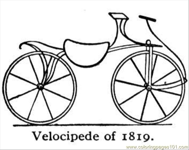Old Velocipede Coloring Page Free Bikes Coloring Pages