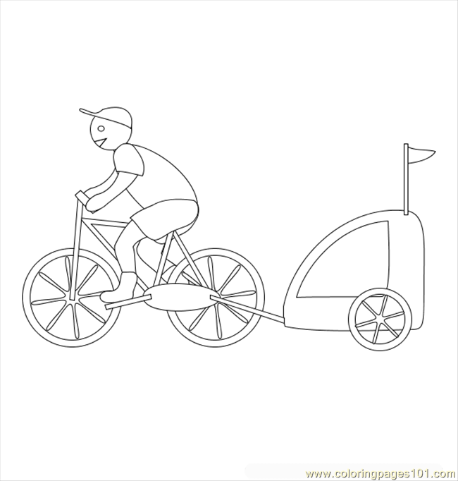 Bicycle With Trailer Coloring Page
