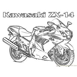 Motorcycle Kawasaki Free Coloring Page for Kids