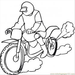 Racing On The Motorbike Free Coloring Page for Kids