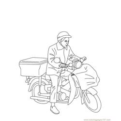 Postman Free Coloring Page for Kids