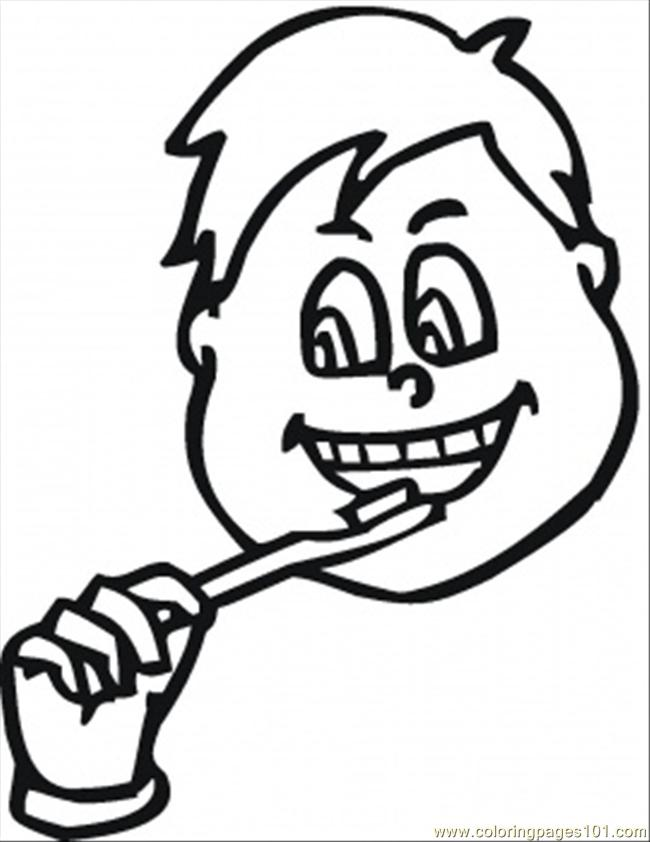 boy brushing teeth coloring pages - photo#13