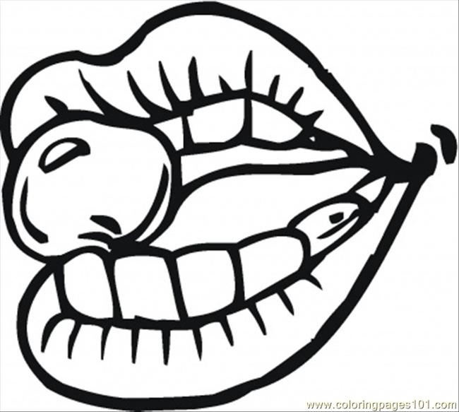 Cherry In The Mouth Coloring Page