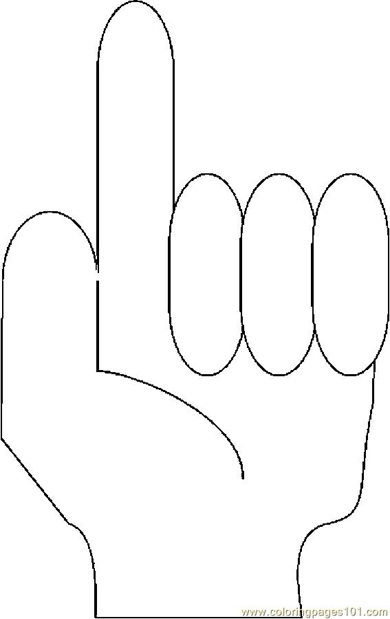 Fingers Counting 1 Coloring Page Free Body Coloring