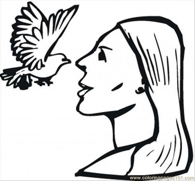 Girl With A Dove Coloring Page