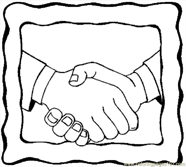 Handshake 9 Coloring Page Free Body Coloring Pages