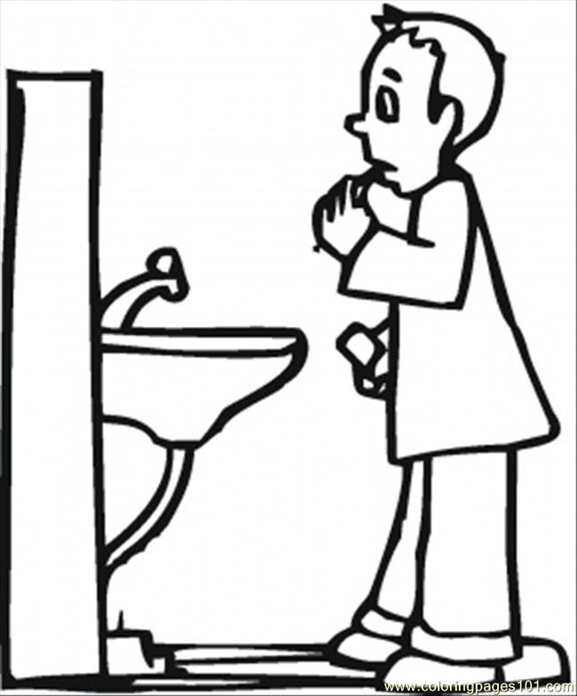 In Bathroom Coloring Page