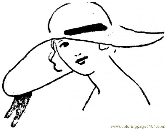 Pretty Girl In A Hat Coloring Page