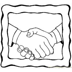 Handshake 9 Free Coloring Page for Kids