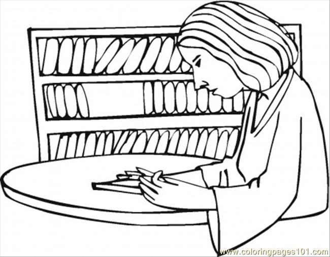 Reading In The Library Coloring Page