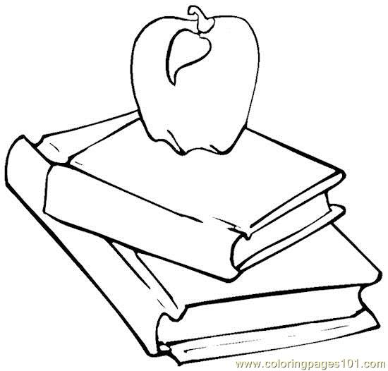 Books apple Coloring Page Free