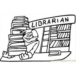 Librarian Free Coloring Page for Kids