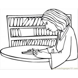 Reading In The Library Free Coloring Page for Kids