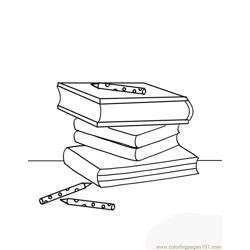 Heap of books coloring page