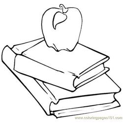 Books apple Free Coloring Page for Kids