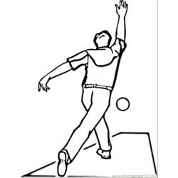 Playing Bowling Free Coloring Page for Kids