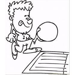 Throwing Bowling Ball Free Coloring Page for Kids