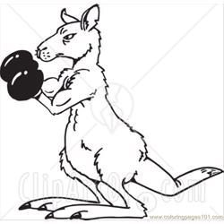 Ack And White Boxing Kangaroo Free Coloring Page for Kids