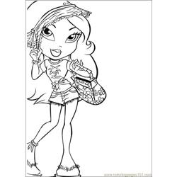 Bratz  Beautiful style Free Coloring Page for Kids