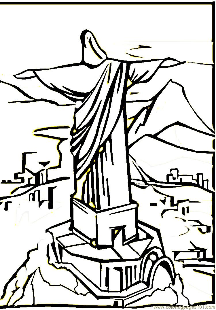 Christ the Remeeder in Rio de Janeiro Coloring Page Free
