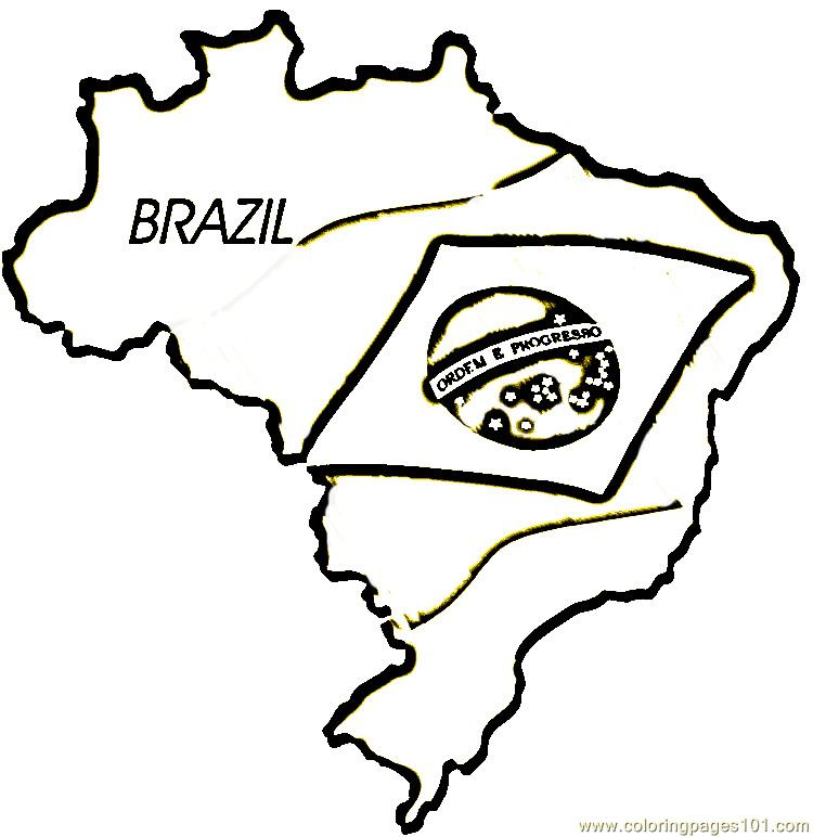 Map flag of brazil coloring page free brazil coloring for Brazil map coloring page