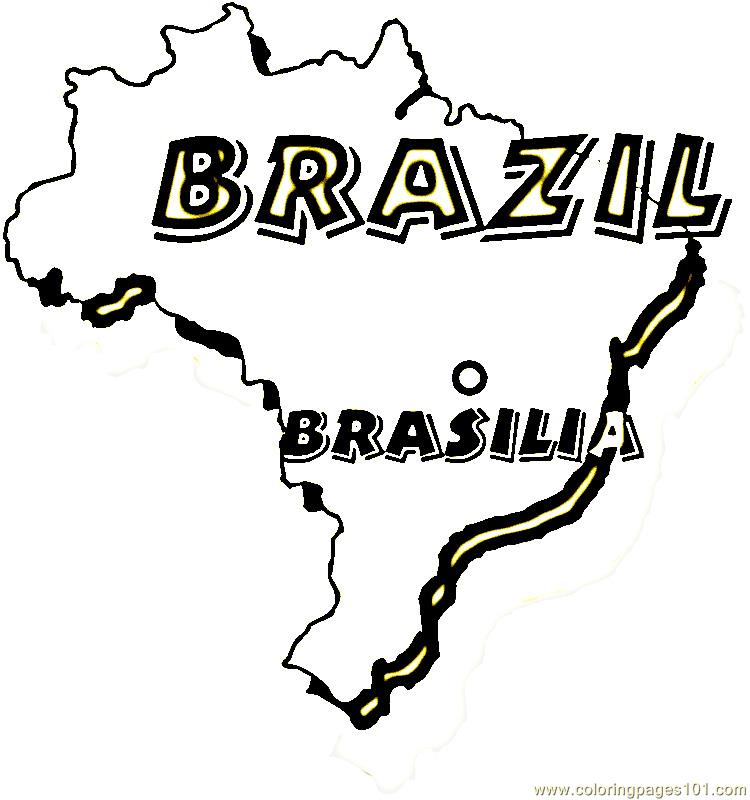 Map of brazil Coloring Page Free