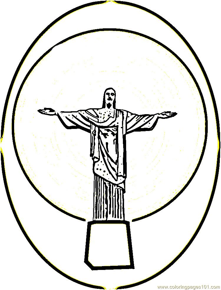Statue of christ in brazil Coloring Page