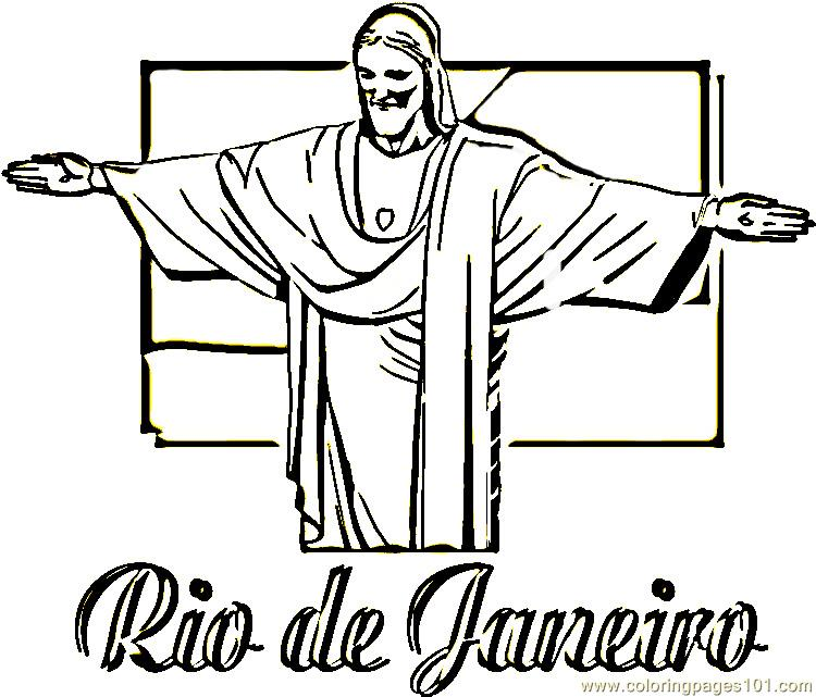 Statue of christ the redeemer Coloring Page