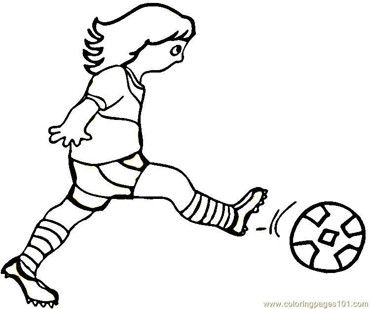 Woman is playing football Coloring Page - Free Brazil ...