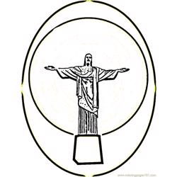 Statue of christ in brazil Free Coloring Page for Kids