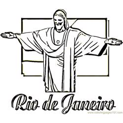 Statue of christ the redeemer Free Coloring Page for Kids