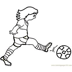 Woman is playing football Free Coloring Page for Kids