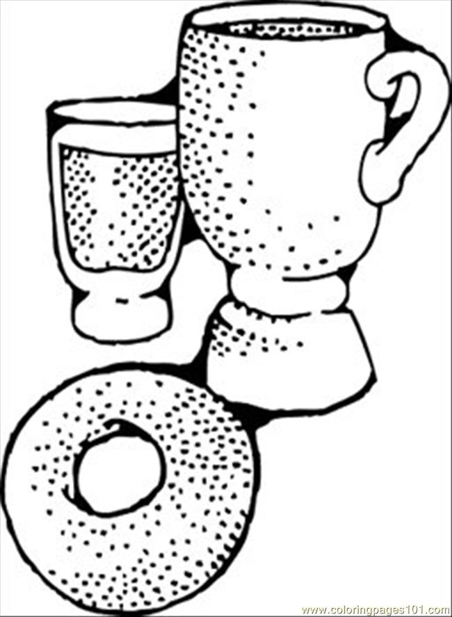 Continental Breakfast Coloring Page