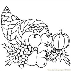 Thanksgiving.cornucopia Free Coloring Page for Kids
