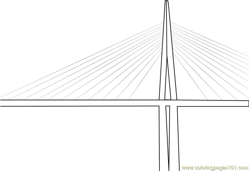 Millau Viaduct Cable Stayed Bridge Coloring Page Free