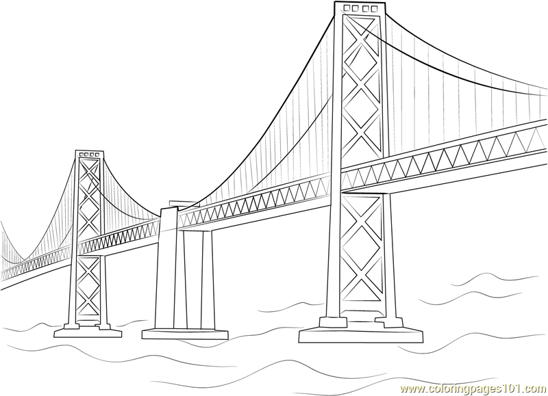 Oakland Bay Bridge Coloring Page