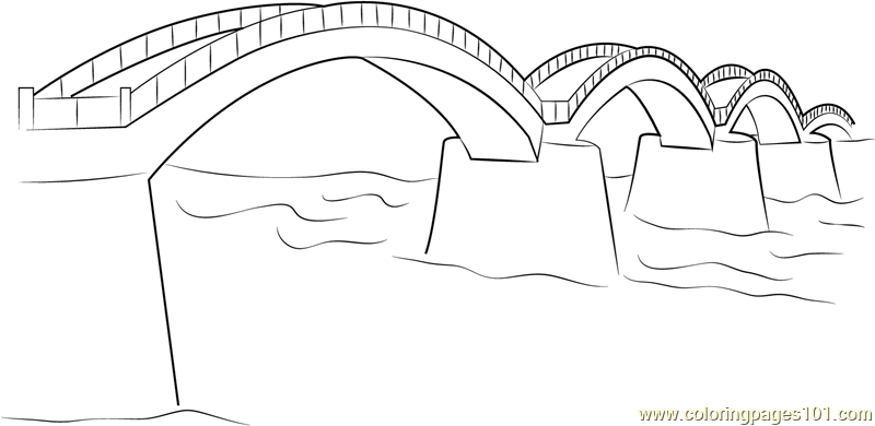 Simple Bridge Coloring Page