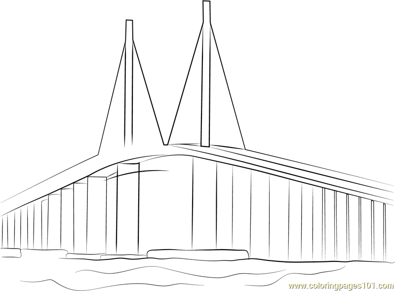 Sunshine Skyway Bridge Coloring Page Free Bridges
