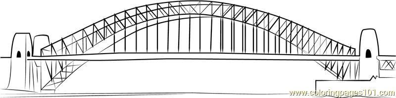 Sydney Harbour Bridge Coloring Page Free Bridges