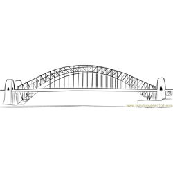 Sydney Harbour Bridge Free Coloring Page for Kids