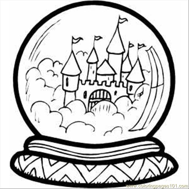 Castle In Crystal Ball Coloring Page - Free Buildings Coloring Pages ...