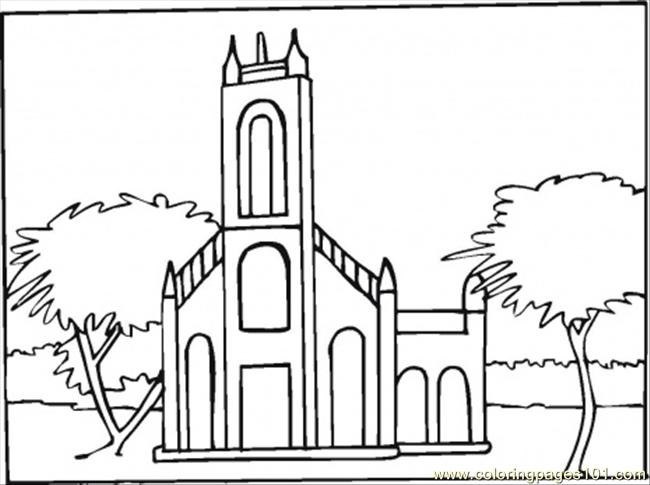 Abbey In The Town Coloring Page