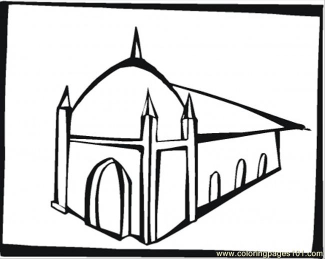 Big Synagogue Coloring Page Free