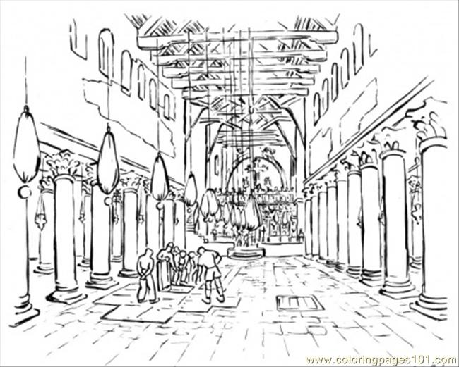 Building of basilica coloring page free buildings for Building the temple coloring pages