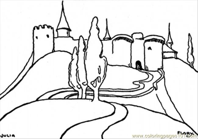 Castle On High Mountain Coloring Page
