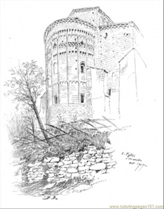 Cathedral On The Mountain Coloring Page Free Buildings Coloring