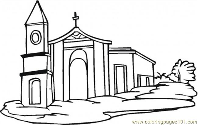 Church Coloring Page Free Buildings Coloring Pages